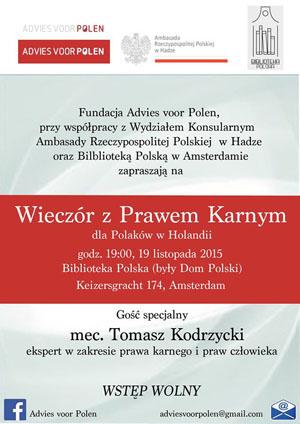 Wieczór z holenderskim Prawem Karnym - fundacja Advies voor Polen - zaproszenie
